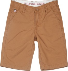 Us Polo Kids Short For Boys Casual Solid Cotton(Brown)