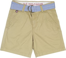 Us Polo Kids Short For Boys Casual Solid Cotton(Brown, Pack of 1)