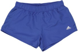 Adidas Short For Girls Solid Polyster Cotton Blend(Blue)