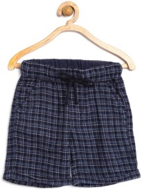 Yk Short For Boys Casual Checkered Cotton(Dark Blue, Pack of 1)