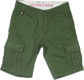 Us Polo Kids Short For Boys Casual Solid Cotton(Green)