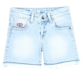 Pepe Jeans Short For Girls Casual Solid Cotton(Blue, Pack of 1)