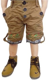 AD & AV Short For Boys Casual Solid Cotton Viscose Blend(Brown, Pack of 1)