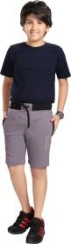 Grey Leaf Short For Boys Casual Embellished Hoisery(Purple, Pack of 1)