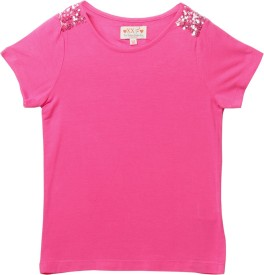 XnY Girls Embellished, Solid Viscose(Pink, Pack of 1)