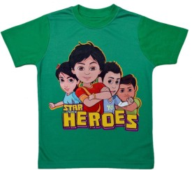 Shiva Boys Printed Cotton Polyester Blend(Green, Pack of 1)