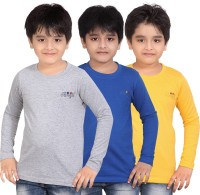 Dongli Solid, Self Design Men's Round Neck Multicolor T-Shirt(Pack of 3)