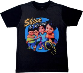 Shiva Boys Printed Cotton Polyester Blend(Black, Pack of 1)