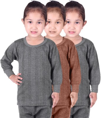Red Fort Top For Girls(Grey, Pack of 3)