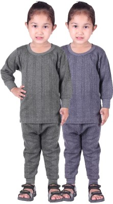 Red Fort Top - Pyjama Set For Girls(Grey, Pack of 4)