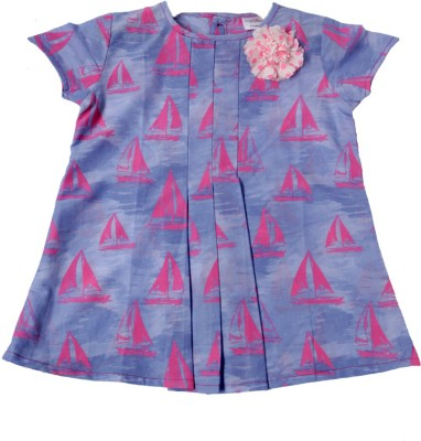 Ponies And Ponytails Top For Girls(Blue, Pack of 1)
