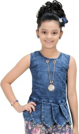 Bluntly Top For Casual Denim A-line Top(Blue, Pack of 1)