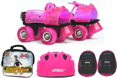Jaspo Pink Heaven Eco junior Skates Combo (skates+helmet+knee+bag)suitable for age upto 5 years Skating Kit