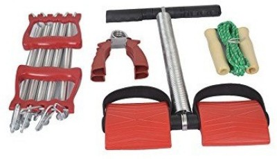 Options 4- Way Training Set Jump Rope, Hand Grip, Spring Power, Chest Expander Gym & Fitness Kit