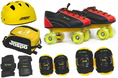Jaspo Jaspo Fire Fighter Pro Shoe Skates Combo SIZE 4 UK (shoe skates+ helmet+knee+elbow+wrist+bag)Foot length 24.4 cms (For age group 10-11 years) Skating Kit