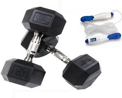 Krazy Fitness 2 Pc Hexagonal Dumbbells 2 kg Each With Digital Skipping Rope Gym & Fitness Kit