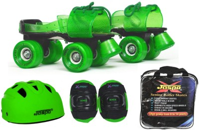 Jaspo Green Rider Eco Senior Skates Combo (Skates,Helmet,Knee,Bag)Suitable For Age 6 to 14 Years Skating Kit