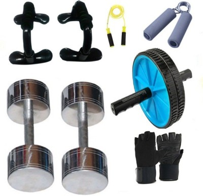 Krazy Fitness Exercise Equipments With 2 pc. 3 Kg Steel Chrome Dumbells Gym & Fitness Kit