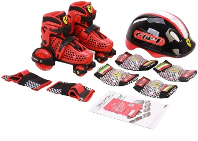 SWAGSPIN Ferrari-My first adjustable Roller Skate Combo Set-Size 30-33 Skating Kit