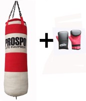 Prospo Multi Layer Unfilled (3 Feet) Canvas Heavy Bag With Punching Gloves Boxing Kit