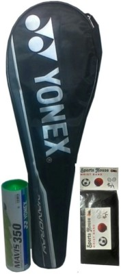 Yonex Combo Pack Mavis 350Yellow, Nylon Shuttle cock and Nanoray 7000i AND SportsHouse Wrist Band Badminton Kit