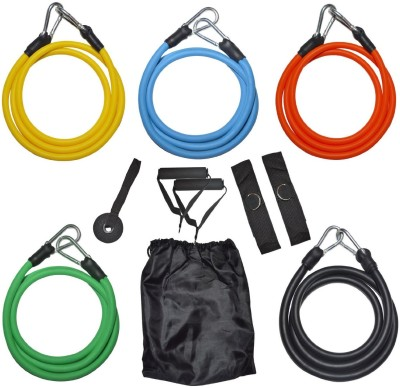 Iso Solid 11pcs Latex Resistance Tube Set for Yoga,Fitness,Exercise,Pilates,Cross Gym & Fitness Kit