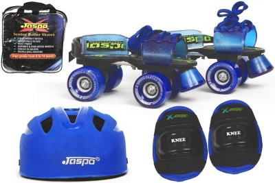 Jaspo Blue Men Eco Senior Skates Combo (Skates+Helmet+Knee+Bag)Suitable For Age 6 To 14 Years Skating Kit