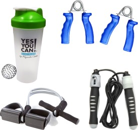 Mor Sporting Combo kit of Solid SU-205 Skipping Rope, Tummy Trimmer Tube, 600 ml Shaker Bottle and Power Grip Gym & Fitness Kit