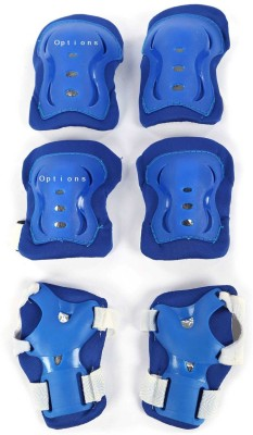 Options Kid's Roller Blading Wrist Elbow Knee Pads Blades Guard 6 PCS Set in Blue Skating Kit