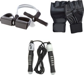 Mor Sporting weight lifting gloves, Solid Skipping Rope, Dual Cord Tummy Trimmer Gym & Fitness Kit