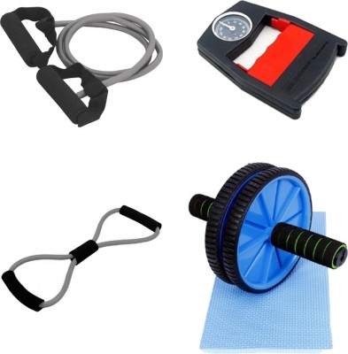 Mor Sporting Combo of Grey Single Toning Tube, 8 shapped Yoga latex tube, hand Power Grip Dyanometer and Ab wheel Max Gym & Fitness Kit