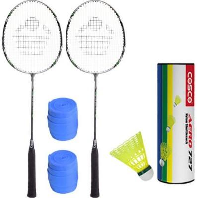 Cosco 2 Cbx 222 Racket With Aero 727 Nylon Shutttlecock And 2 Grip Badminton Kit