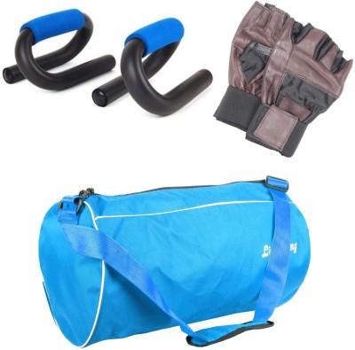 Livestrong Fitness Gym Duffle Bag Light Blue + S Shape Push Up Bar+ Gym Gloves Gym & Fitness Kit