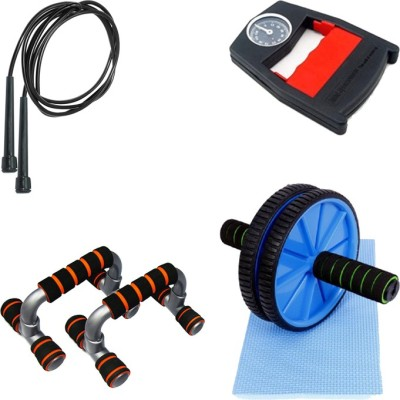 Mor Sporting Combo of Black Slim Skipping rope, Hand Power Grip Dyanometer, Anti slip foldable Push up bar and Ab wheel Max Gym & Fitness Kit