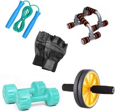 Livestrong Pvc Dumbells 1 Kg Each + Ab Wheel+ Dip Stand Push Up Bar+ Skipping Rope + Gloves Gym & Fitness Kit