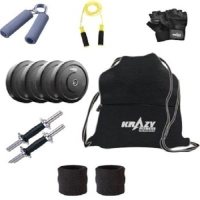 Krazy Fitness Krazy Adjustable Dumbells 6 KG With SKIPPING ROPE, SWEAT BAND, GLOVES, HAND GRIP, GYM BAG Gym & Fitness Kit