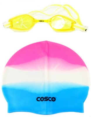 Cosco Swimming Goggles(AquaDash) & Cap Combo Pro Swimming Kit