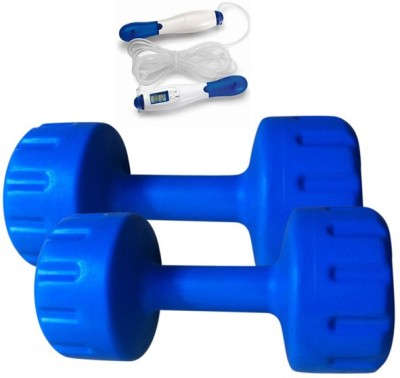 Krazy Fitness 2 Pc PVC Coloured Dumbbells 1 kg Each With Digital Skipping Rope Gym & Fitness Kit