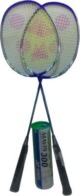 Yonex Mavis 300 (Pack of 6) Yellow Nylon Shuttle cock and Nanoray 7000i (pack of 2) Badminton Kit
