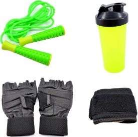 Sports 101 Jump Rope, Glove, Wrist Wrap and Shaker Bottle Gym & Fitness Kit