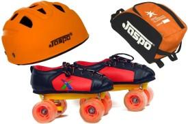 JASPO Jaspo Velocity Dual Shoe Skates Combo SIZE 12 UK (shoe skates+ helmet+bag)Foot length 19.0 cms ( For age group 5-6years) Skating Kit