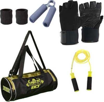 Blt Passion Duffel Bag With 1 Pair Exercise Gloves,1 Pair Sweat Bands,1 Power Grip & 1 Skipping Rope Gym & Fitness Kit