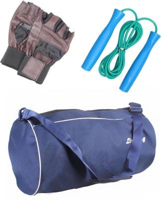 LIVESTRONG FITNESS COMBO OF GYM BAG BLUE+ SKIPPING ROPE+ WEIGHT LIFTING GYM GLOVES Gym & Fitness Kit