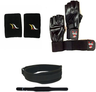 Vinto PREMIUM COMBO OF 1 PAIR LEATHER GLOVES, 1 WEIGHTLIFTING BELT(L) SIZE, 1 PAIR WRIST BAND Gym & Fitness Kit