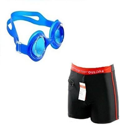 Kyachaiyea (Swimming Goggles With Authentic Men Adult Swim Trunks Boxer Nylon Swimming Kit