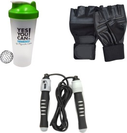Mor Sporting Weight Lifting gloves, Solid Skipping Rope, Yes You Can Shaker Bottle 600 ml Gym & Fitness Kit