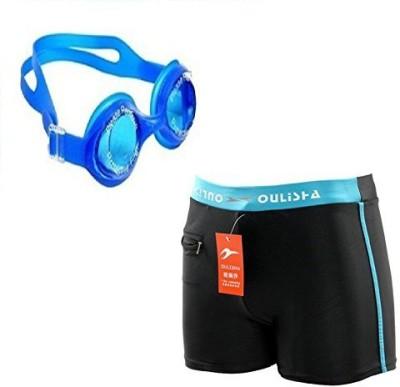 Kyachaiyea Swimming Kit (Swimming Goggles With Authentic Men Adult Swim Trunks Boxer Nylon Swimming Kit