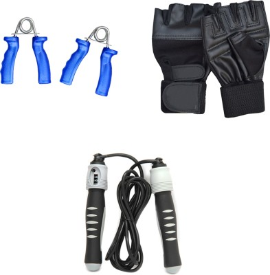 Mor Sporting Weight Lifting gloves, Solid Skipping Rope and Power Grip Gym & Fitness Kit