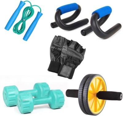 Livestrong Fitness Kit Pvc Dumbells 1 Kg Each+ Ab Wheel+S-Shape Push Up Bar+ Skipping Rope+Gloves Gym & Fitness Kit