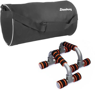 Livestrong Fitness Combo Of Gym Bag Black+ Push Up Bar Dip Stand Gym & Fitness Kit